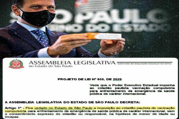 """Deputado Gil Diniz apresenta PL """"para impedir a absurda vacinação compulsória"""" proposta por Doria"""